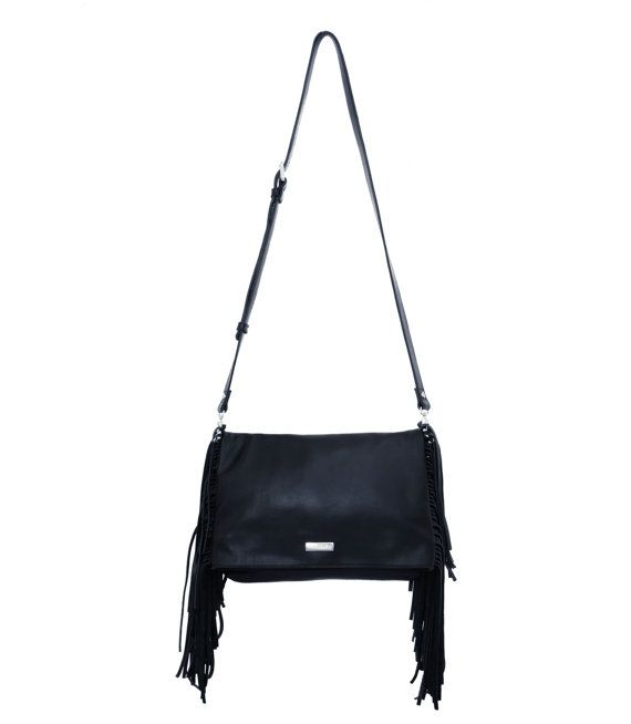 Leather Fringe Bag Blck Leather Fringe Bag Black by MONAObags