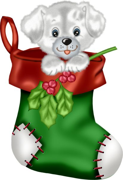 Christmas Green Stocking with Puppy PNG Clipart