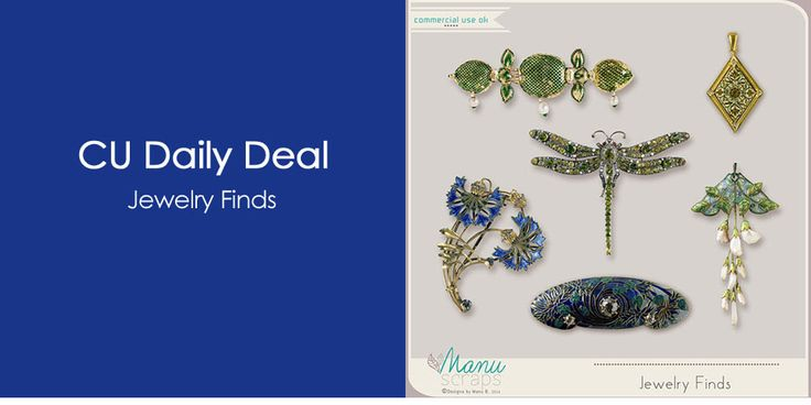 Digital Scrapbooking Studio offers Daily Deals Mon - Sat starting at midnight EST! Take advantage of massive discounts as high as 60-70% OFF. Bookmark this page and visit every day! Today's Commercial Use Deal of the Day is CU Jewelry Finds by Manu Scraps