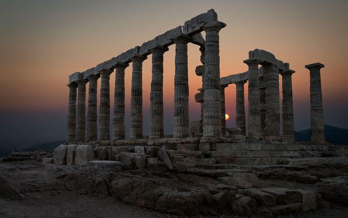 Download wallpapers Sounion, Temple of Poseidon, sunset, ruins, 4k, Greek temple, Greece, landmarks