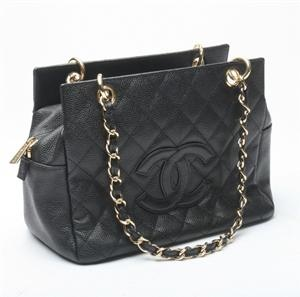 Chanel skuldertaske, sort skind
