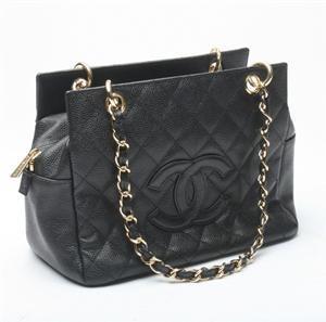 Chanel skuldertaske, sort skind