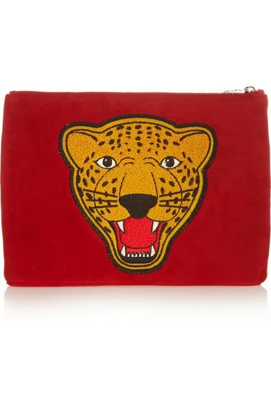 Charlotte Olympia Varsity appliquéd suede pouch £275.62