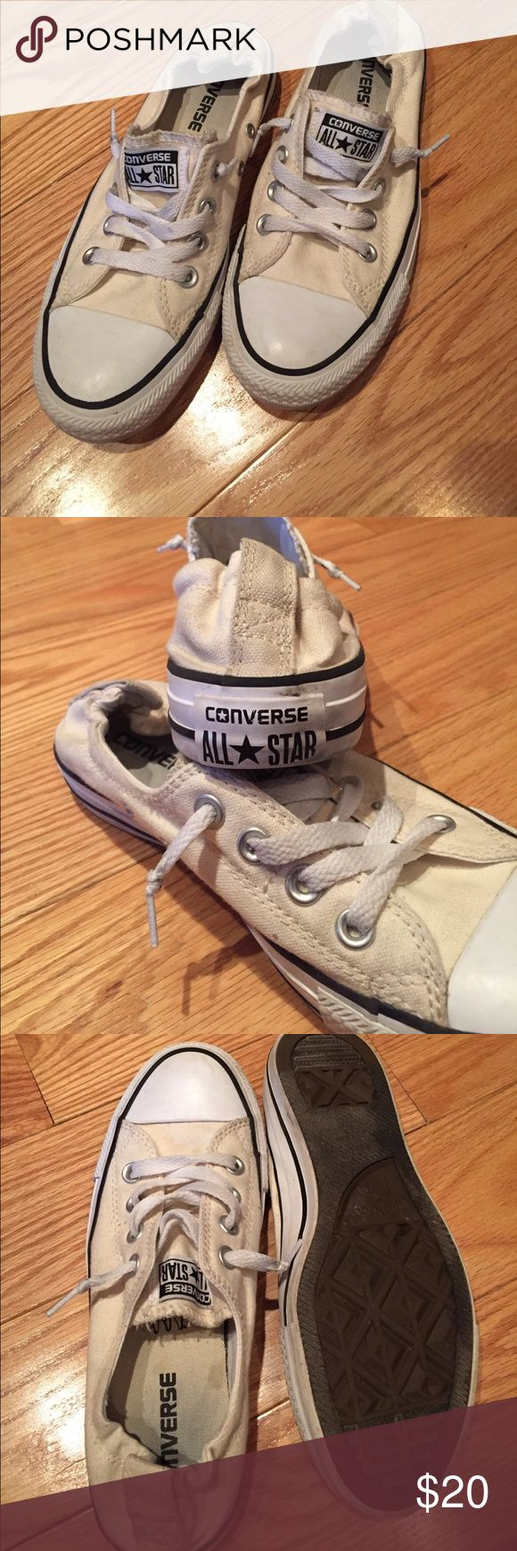 Converse elastic back shorelines off white These off white converse shorelines have lots of life left! Only some minimal signs of wear on fabric and practically none on the soles! Perfect for back to school 📚✏️ Converse Shoes Sneakers
