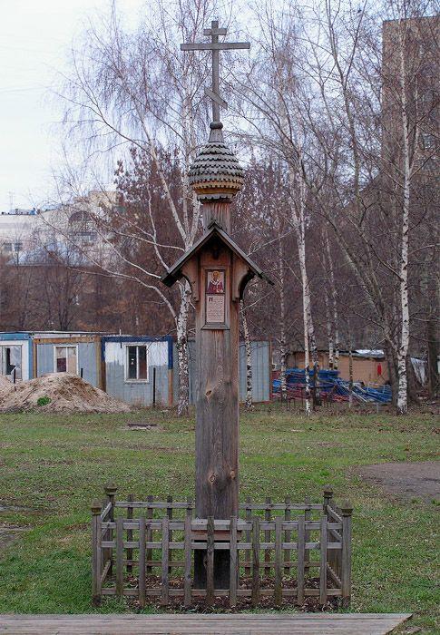 Голбец с образом Николая Чудотворца на месте алтаря разобранного Никольского придела московской церкви Трифона в Напрудной слободе.