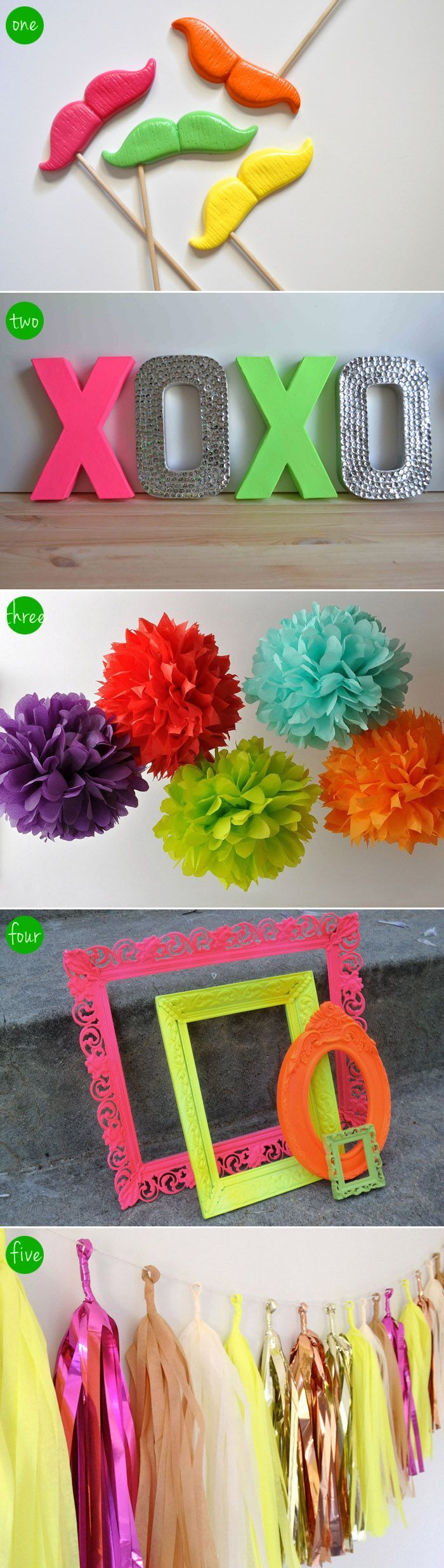 Neon photo booth inspiration (click on the link to 'Handmade Hilarity' and see the creative minds behind these crafty designs)