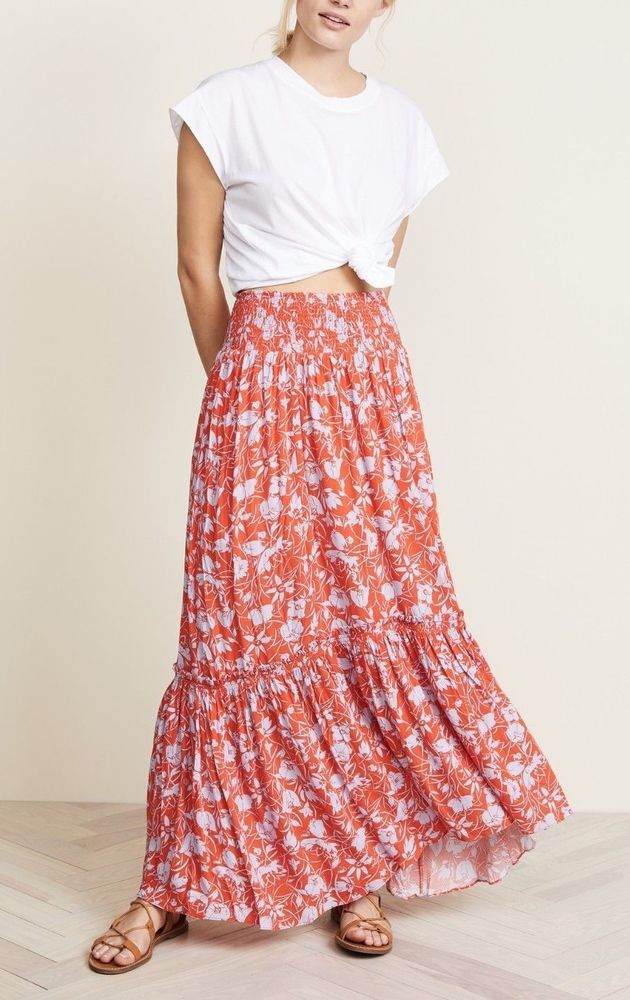 36cfafcbb4 FREE PEOPLE Way of the Wind Printed Midi Skirt Red Combo, Small #FreePeople  #Maxi