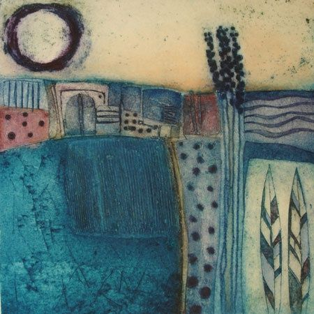 Carol Edgar (London) Landscape & Lavendar Collograph Edition of 50 27 x 27 cms