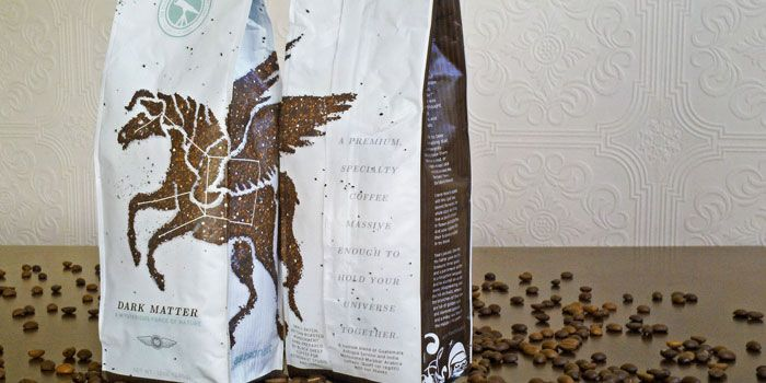 Dark Matter Coffee - Sure you COULD Photoshop coffee grounds into Pegasus form. But wouldn't you rather dump some grounds on the table and do it yourself?