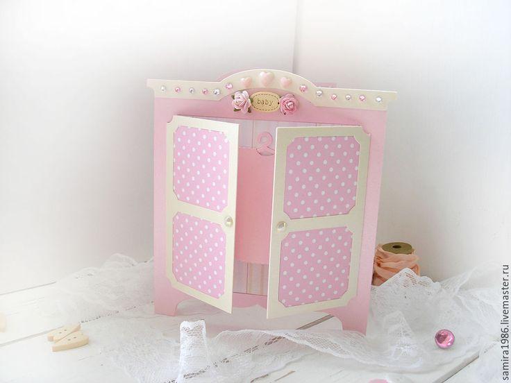 """Купить Детская открытка""""Для девочки"""" - розовый, для девочки, новорожденной девочке, новорожденная, подарок новорожденной"""