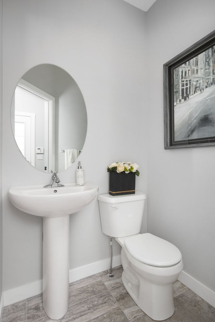 Half bath in Creations by Shane Homes Samara Showhome in Midtown in Airdrie #bath #bathroom