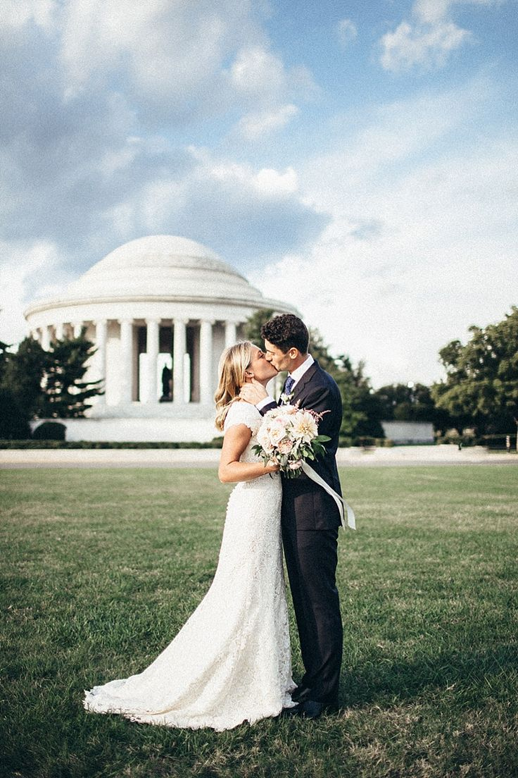 modest wedding dress with cap sleeves and a flared skirt from alta moda (modest bridal gown)