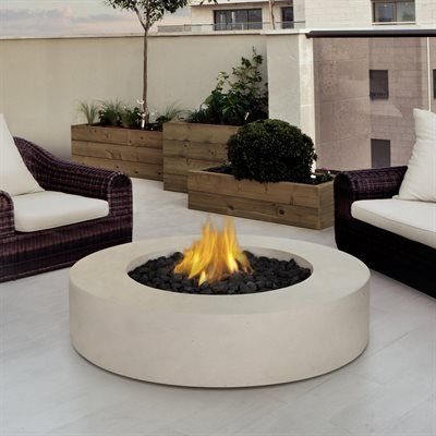 Real Flame 9660LP Antique White Mezzo Round Propane Fire Pit