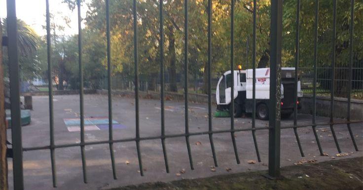 Denuncia vecinal   Peligro por la barredora en el patio de la ikastola Alkartu