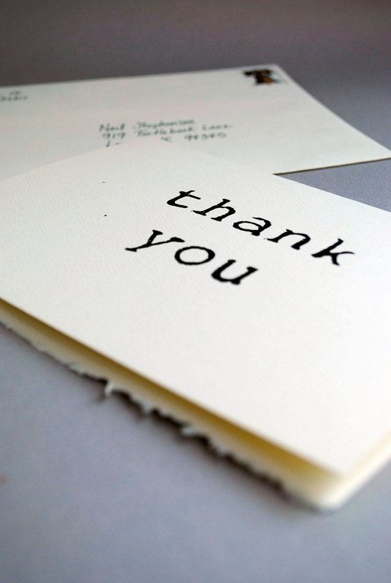 wedding thank you cards time limit%0A Handprinted Thank You Card in Black  Typewriter Font Thank You Note