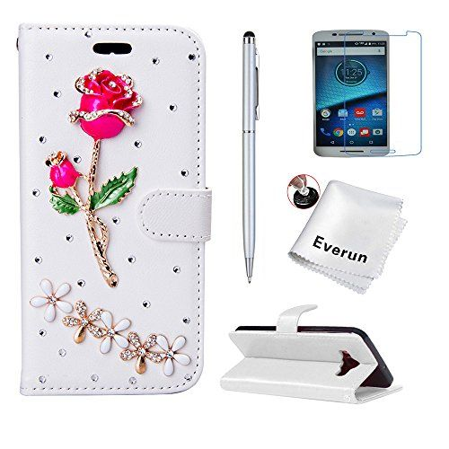 Feature: -Outer magnetic flap closure to securely hold credit cards and cash. -Specifically designed to stands device for hands-free viewing. -Front is covered with Bling Luxurious Crystal Diamante. ...
