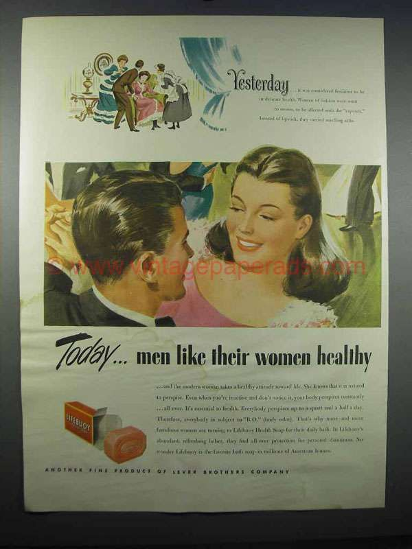 1947 Lifebuoy Soap Ad - Men Like Their Women Healthy
