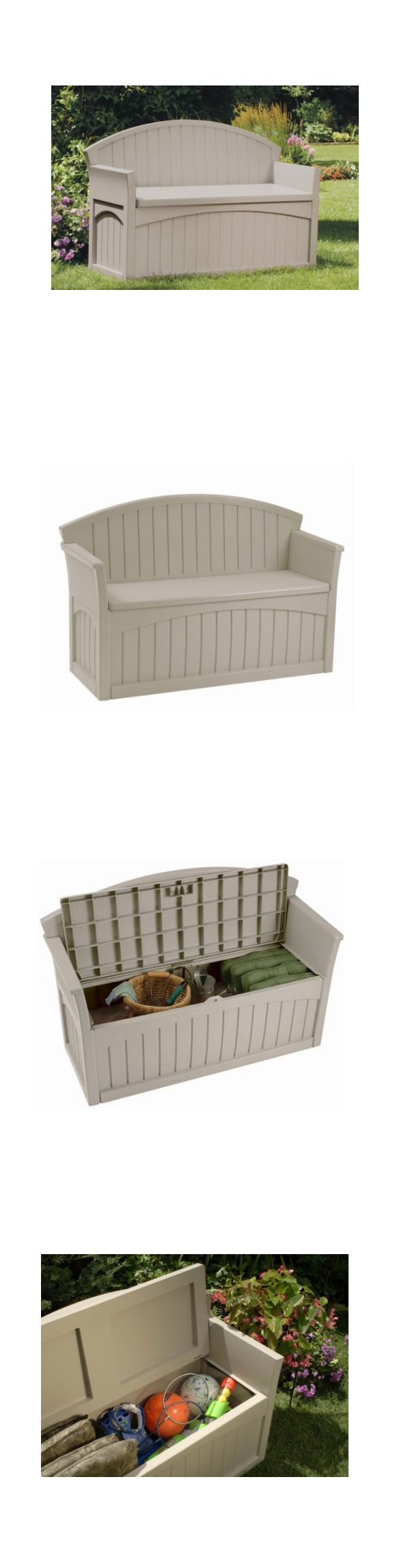 Other Patio and Garden Furniture 10035: Storage Deck Box Outdoor Container Bin Chest Patio Suncast 50 Gallon Bench Seat -> BUY IT NOW ONLY: $92.11 on eBay!