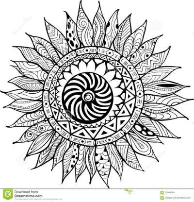 Hand Drawn Zentangle Sunflowers Mandala Coloring Pages