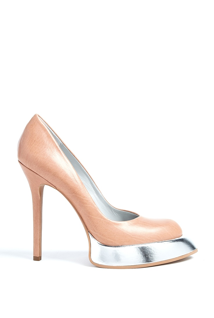 Almond Metallic Sweeper Sole Stiletto Pumps by Camilla Skovg