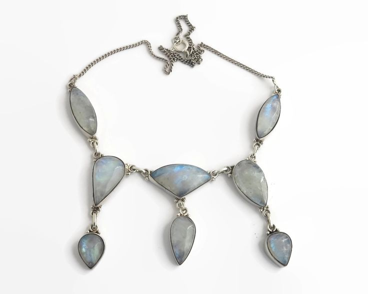 Rainbow moonstone necklace in sterling silver setting, 8 large blue cabochon cut stones in bezel settings, fine curb link chain, 44 grams by CardCurios on Etsy