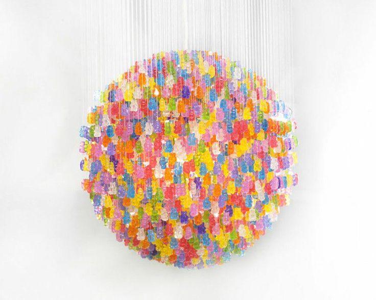 """suspension boule en oursons """"en gélatine"""" multicolores"""
