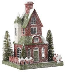 Lovely Putz or 'Glitter' House:: Beginning in the 1920s, small cardboard houses, known as 'putz' houses, were sold as holiday decorationss and used in many homes around the Christmas tree or as part of the Nativity scene. You can easily make your own putz house - or even a whole village - from inexpensive materials and simple patterns downloaded from the Internet. Read more: http://www.ehow.com/how_5748420_make-putz-house.html#ixzz2ZN5R8olg