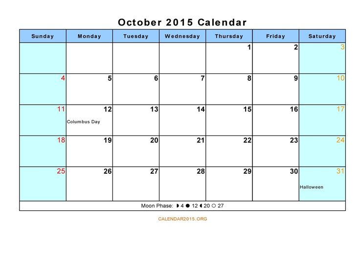 October Calendar Holiday Event,To Print, Tumblr, Calendar - vacation schedule template