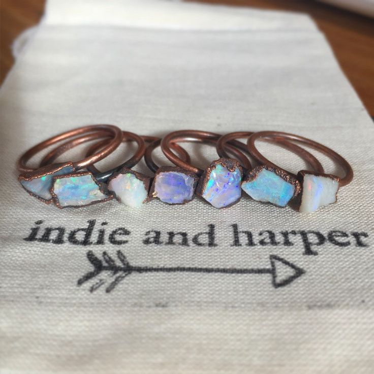 Australian Raw Opal and Copper Ring