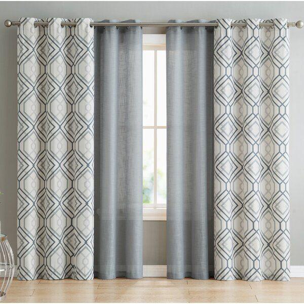 Minchinhampton 4 Pieces Top Geometric Semi Sheer Grommet Curtains Living Room Decor Curtains Window Curtains Living Room Grommet Curtains