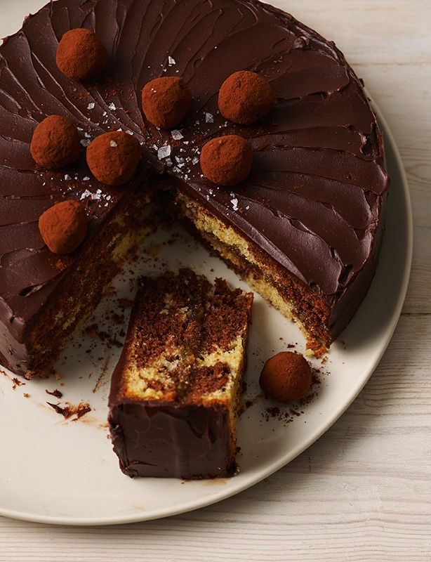 Chocolate. Salted caramel. A marbled sponge. Chocolate truffles. Sea salt. This cake really is as good as it looks...