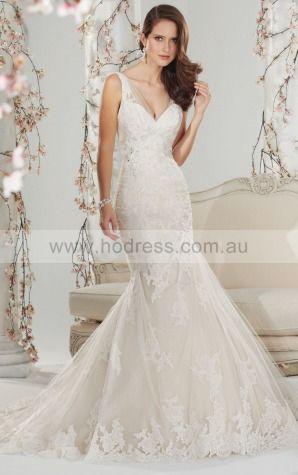 Mermaid Sleeveless V-neck Zipper Floor-length Wedding Dresses feaf1045--Hodress