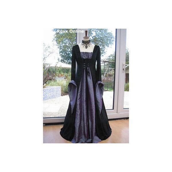 black velvet  purple taffeta medieval dress