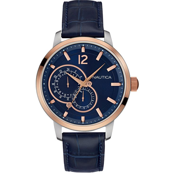 224 / 214 EURO ΡΟΛΟΙ ΑΝΔΡΙΚΟ NAUTICA NCT 15 MULTIFUNCTION BLUE LEATHER STRAP NAI16501G - e-chrono.gr | Ρολόγια - Κοσμήματα