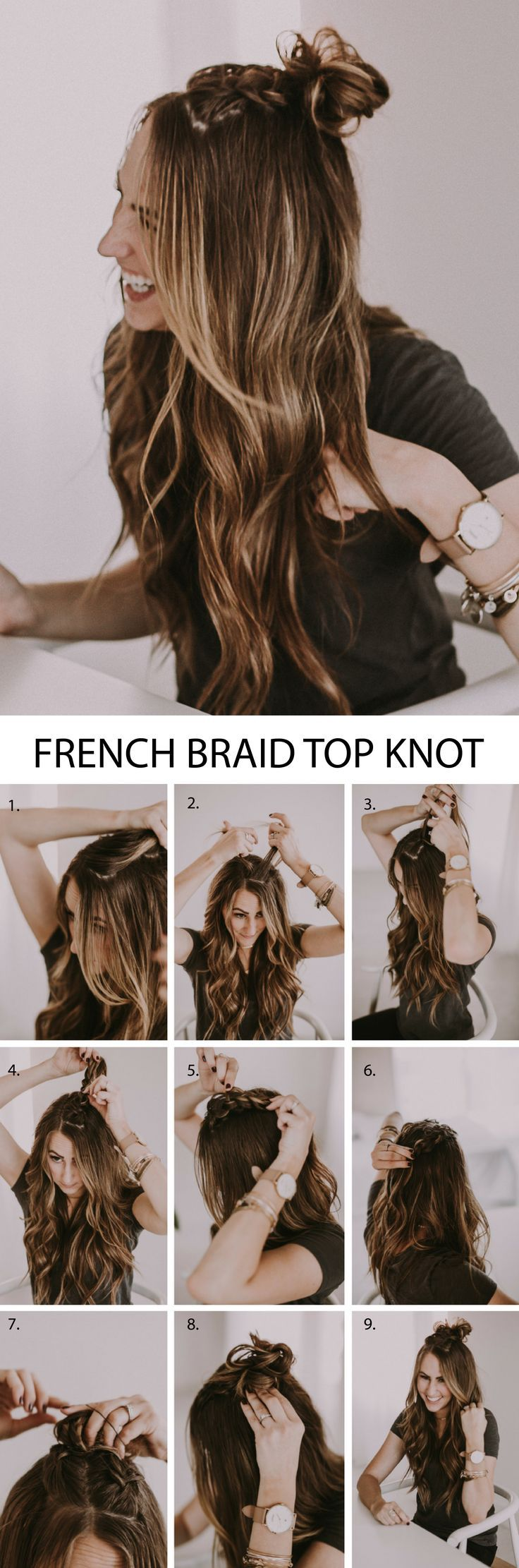 Double French Braid Half Up Top Knot. Such a beautiful hairstyle with braids and the perfect top knot. I love the step by step and the video tutorial!