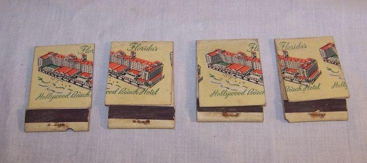 Matchbooks - Old Vintage Lot of 4 - Misprints - Hollywood Beach Hotel - Florida