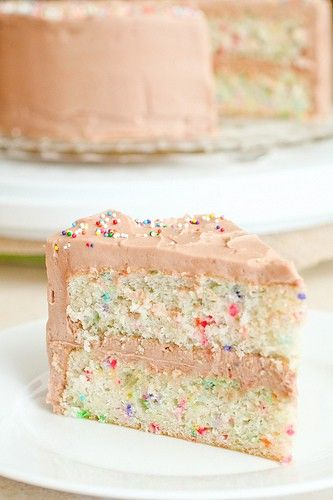 Homemade, from scratch Funfetti Cake.    2 c all purpose flour  1 Tbs baking powder  1/2 tsp salt  3/4 c unsalted butter, room temperature  1 1/2 c sugar  2 tsp vanilla extract  1 c milk  5 large egg whites, room temperature  ¼ c multi-colored nonpareils    Preheat oven to 350 degrees F. With butter, grease 2 9-inch round cake pans. Dust with flou