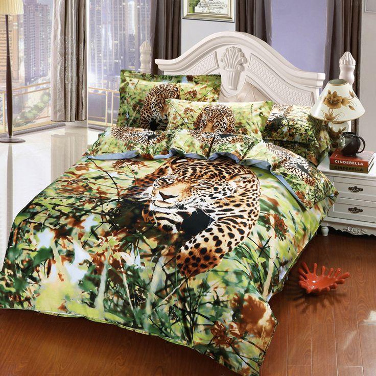 Pas cher Jungle animaux Cheetah imprimé 3D ensemble de literie 100% coton chambre définit housse de couette taie d'oreiller draps de lit pour Queen   Full Size lits, Acheter  Ensemble de literie de qualité directement des fournisseurs de Chine:                                       N                             O couette dans la housse de couette.