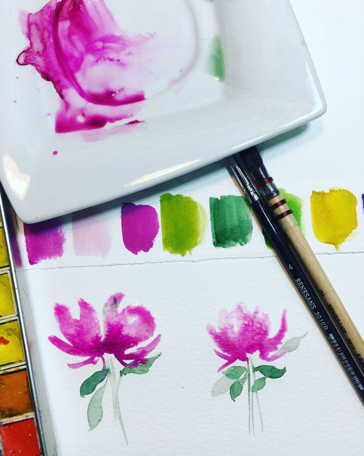 Watercolor flower with Renesans watercolors