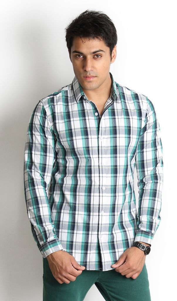 Green And Black Checked Shirt | Globus Stores Pvt. Ltd.