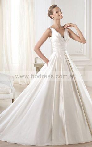 Princess Sleeveless V-neck Zipper Floor-length Wedding Dresses fcaf1112--Hodress