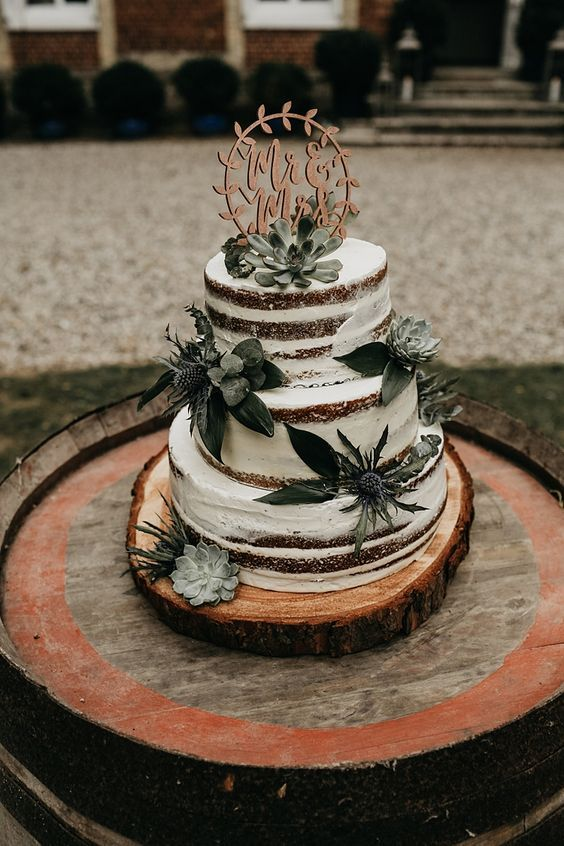 a naked buttercream sponge wedding cake with thistles and succulents plus a call…  – Wedding Cakes