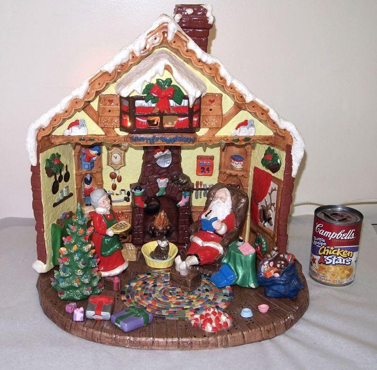 Vtg Ceramic Light Up Christmas Santa S Workshop Atlantic