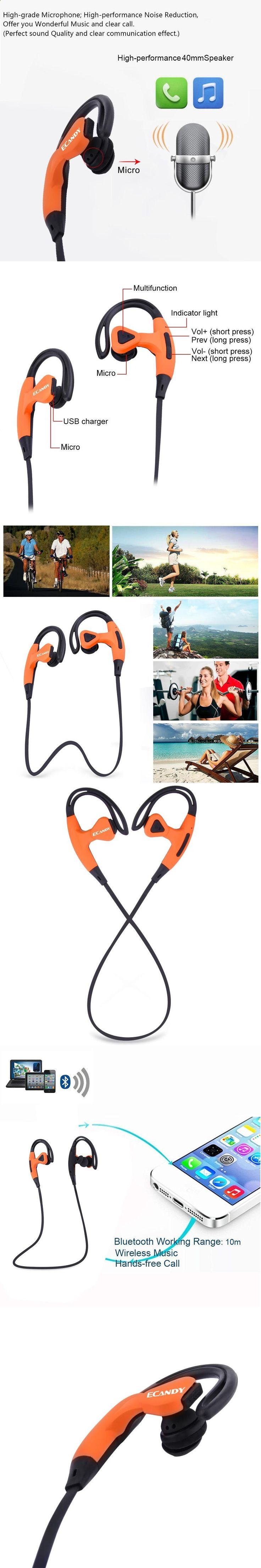 Sports Headphones - Ecandy Bluetooth Earphone Music Stereo Earbuds Wireless Sports Headphones Handsfree fones de ouvido with Mic for Smartphones - If you usually go out to run, walk or any other sport in which you usually carry music to accompany or motivate you, we have selected 13 models of sports headphones that we consider among the best in the market for different aspects, from comfort to use to design, sound quality or value for money, so that you find variety and can adjust the ...