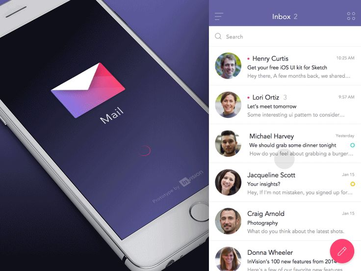 InVision Mail App Prototype by Anton Aheichanka for InVision