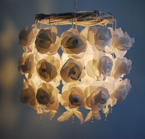 White Roses Paper Chandelier - Handmade Flower Ceiling Lampshade