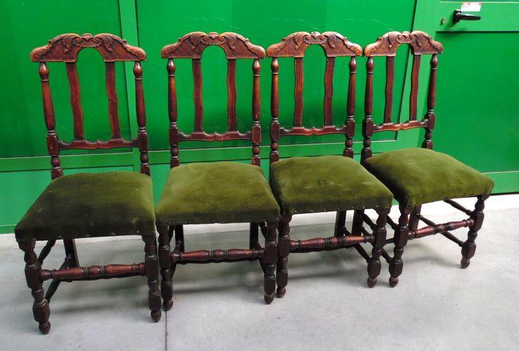 4 sedie rustiche '800 della Francia del Nord in rovere massello schienale decorato+