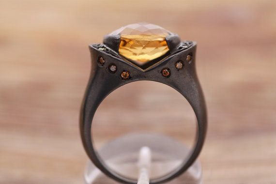Sterling Silver black-rhodium plated/Citrine with cognac