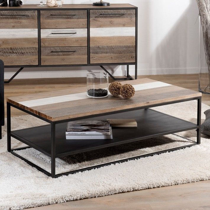 Industrial Coffee Table With Two Tone Wood And Black Metal For