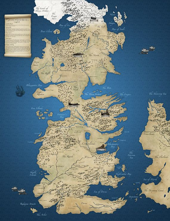 Based on the HBO Series Game of Thrones detailed map with legend https://www.etsy.com/listing/170825992/game-of-thrones-map #GameofThrones